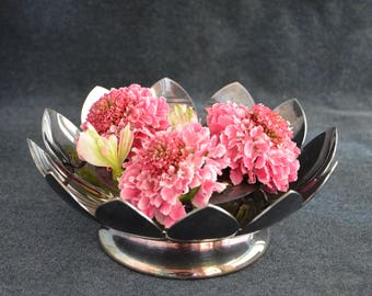 Vintage Reed and Barton Silverplate Lotus Bowl with Flower Frog / Tarnished Silver Decorators Bowl