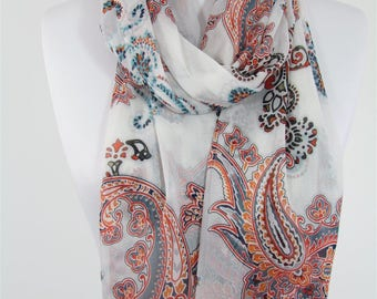 Paisley Scarf White Scarf Shawl Spring Summer Boho Scarf Infinity Scarf Women Fashion Accessories Gift For Women 68