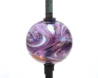 Hand Blown New Lightning Rod Glass Ball, Weathervane Ball,  Purple PU1