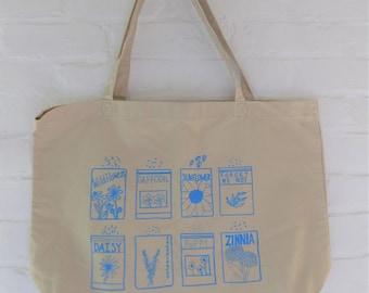 Flower Tote Bag, Market Tote, Kale Tote, Food Tote, Reusable Bag