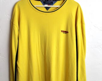 90s Vintage Tommy Jeans Long Sleeve Yellow Long Sleeve Shirt Vintage Tommy Hilfiger Mens Size XXL