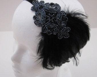 Black Feather Headpiece, Flapper Headband, Stretch Velvet Elastic, Gunmetal beaded dress 1920s Great Gatsby Flapper Dress Feather Black