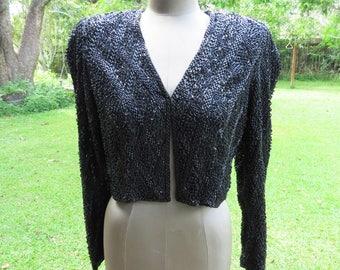 "Vintage Beaded Black Short Sweater/Bolero Jacket Silk and Black Beads- Shoulder Pads 38"" Bust Needs Minor Repair"