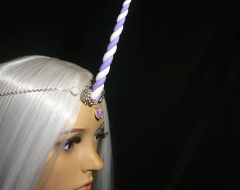 Lilac Swirls Unicorn - Tiara with handsculpted Unicorn horn