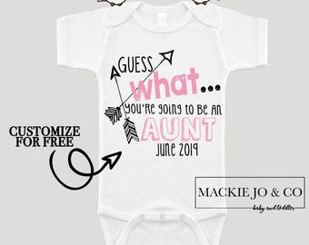 Guess what You're going to be an AUNT Future Aunt Baby Bodysuit Customize Color and Date Baby Announcement