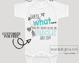 Guess what You're going to be an UNCLE Future Uncle Baby Bodysuit Customize Color and Date Baby Announcement