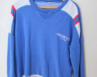 vintage blue red & heathered gray kidder skis pro staff sweatshirt