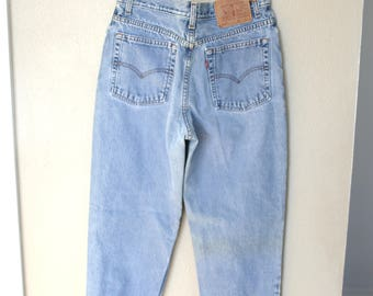vintage 1980's high rise  waist levis 512 mom  jeans denim 30