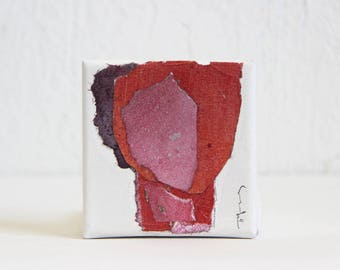Miniature Original Painting, Dark Pink and Red Orange Art, Abstract Original Collage, Artistic Gift