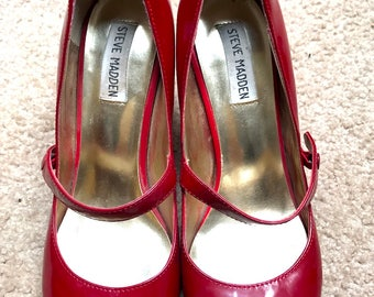 Cherry Red Steve Madden Mary Jane Kitten Heels Rockabilly Cute as Hell
