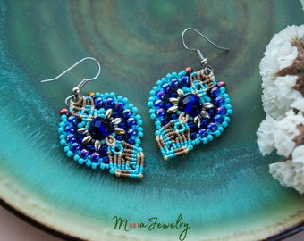 Beaded macrame earrings, aqua blue, navy blue, floral, micro-macrame jewelry, beadwork, beadwoven, elegant earrings, office, dressy, bright