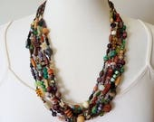 WOODLANDS rustic boho mori girl statement necklace 6 strand hand-knotted beaded OOAK art necklace SusanRodebushArts