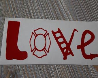 Firefighter Car Decal - Firefighter Love Car Decal - Fireman Car Decal - Fireman Sticker - Love Fireman Car Decal - Car Decal Fireman