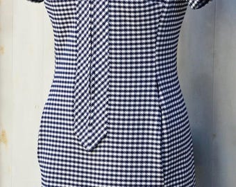 Blue and White Houndstooth Dress - Vintage Scooter Dress with Pockets - Retro Gingham Dress - Checkered Mod Dress - Short Sleeve 60s Dress