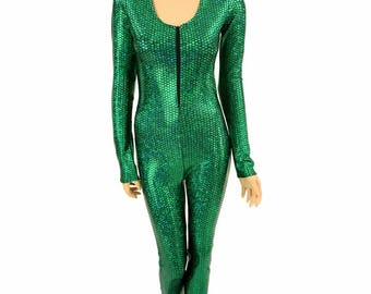 Mera Green Fish Scale Long Sleeve Zipper Front Catsuit Mermaid Cosplay  -150411