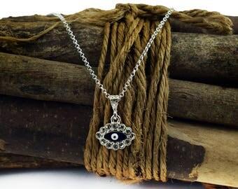Blue Evil Eye Necklace, Sterling Silver Evil Eye Pendant Charm Necklace with Swarovski Crystal Clear Beads
