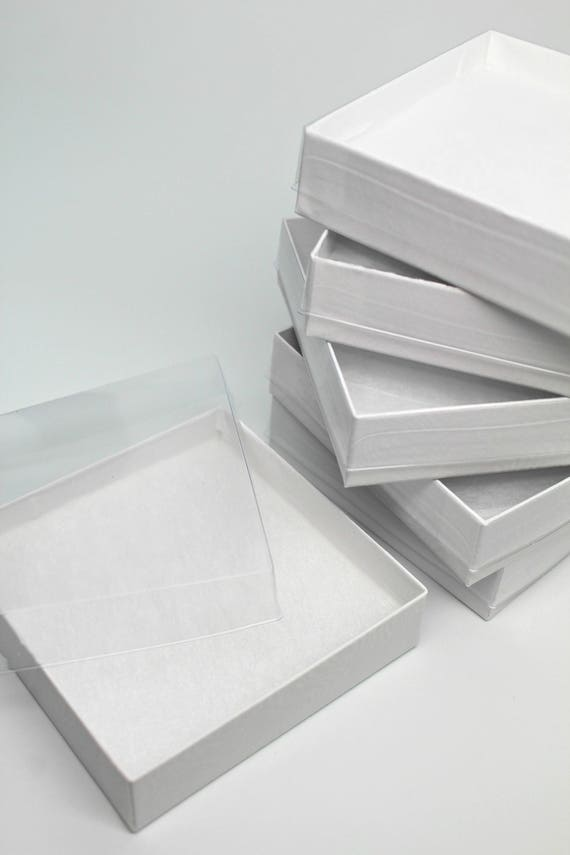 Reserved for liz white kraft jewelry boxes with clear for Small cardboard jewelry boxes with lids