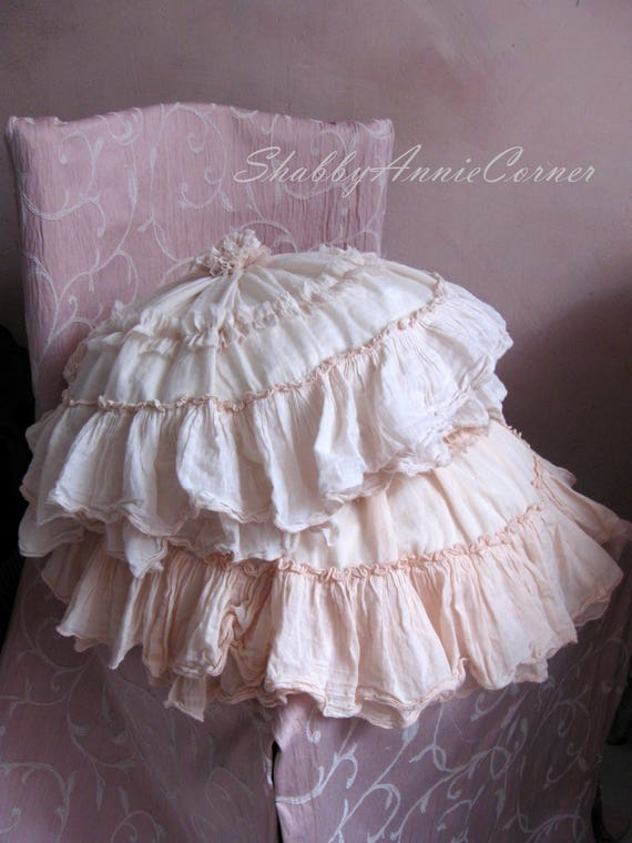 French Shabby Chic Pillows : Shabby Chic pillows Cream Ruffle Throw pillows Round pillows