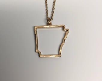 Arkansas Necklace, Arkansas, gold Arkansas necklace, Arkansas jewelry, Arkansas pendant, state necklace, state jewelry, gold necklace