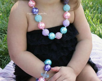 Baby girl necklace, pink lavender aqua, chunky bead necklace set, 1st birthday, baby bracelet, light purple, easter baby