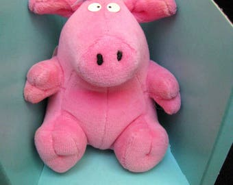 Sandra Boynton MINIMALS Pink Plush Pig PEEG Soft Velour Little Piggy GUND Beanie Toy Dramatic Captivating Impulsive Steals Hearts Chocolate