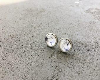 White marble stud earrings in lilac and purple, CuteBirdie