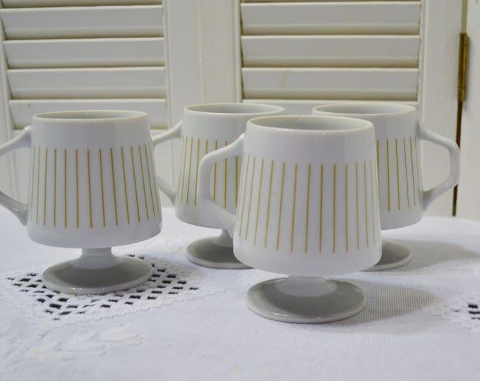 Vintage Nasco Royal Elegance Footed Mug Set of 3 Pedestal Cup White Beige Stripe Minimal Modernist Mid Century Panchosporch