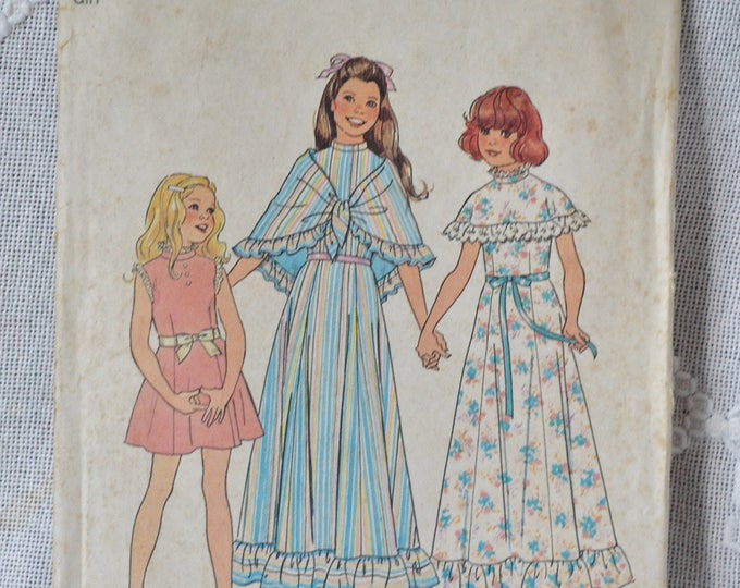 Simplicity 7413 Sewing Pattern Girls Dress and Shawl Size 10  DIY Fashion Sewing Crafts PanchosPorch