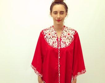 St. Valentine Blouse // vintage 70s floral embroidered dress cotton ethnic boho hippie tunic red Asian kimono chuchi 1970s hippy // O/S