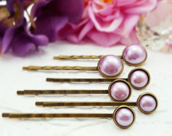 Violet Pearl Bobby Pins, Six-Piece Set, Lavender Purple Hairpins, Bronze Orchid Bobbies, Plum Bridal Hair Accessory, Wedding Hairpins, H4211