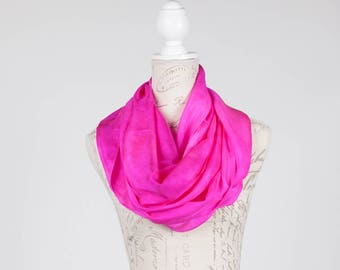 Fuchsia infinity scarf  / pink infinity silk scarf / shocking pink circle scarf/ fuchia circle scarf / Hand dyed / 100% habotai silk