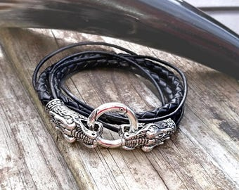 Dragons head leather bracelet, cuff. Men's, unisex, leather cuff bracelet. Biker, Gothic, rocker, geeky, d&d jewelry jewellery, armband