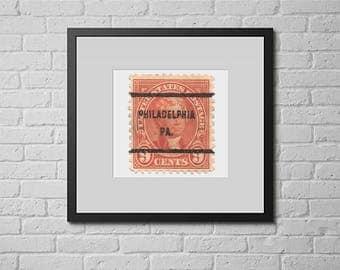 Postage Wall Art: 1922 Thomas Jefferson - Philadelphia Postmark