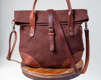 textile bag, Leather bag,Brown leather tote bag, leather bag, leather purse, leather handbag Textile-leather bag