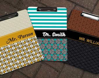 Personalized Retro Patterned 2-sided clipboard, Personalized Clipboards,  Teacher Gifts