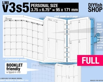 FULL  [PERSONAL v3s5 w/o DAILY] January to December 2018 - Filofax Inserts Refills Printable Binder Planner Midori.