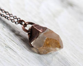 Tangerine Quartz Necklace Electroformed Crystal Pendant Orange Crystal Natural Crystal