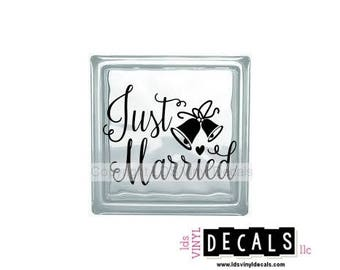 Just Married (Bells) - Wedding and Anniversary Vinyl Lettering for Glass Blocks