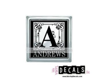 Personalized Fancy Alphabet Monogram   - Vinyl Lettering for Glass Blocks - Wedding Craft Decals