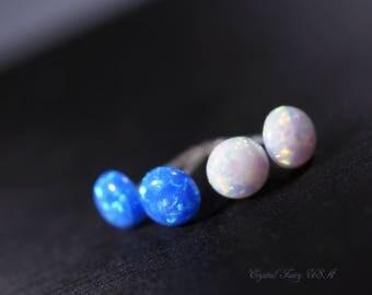 Fire Opal Stud, Sterling Silver Synthetic Blue Opal Earrings, Delicate Tiny 6mm White Opal Earrings