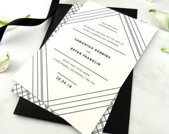 Geometric wedding save the date, Patterned wedding, Minimalist wedding save the date, Art Deco wedding invitation, Modern wedding invite