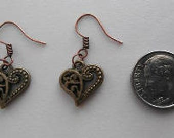 Antique Bronze Hollow Heart  Earrings or Corded Necklace