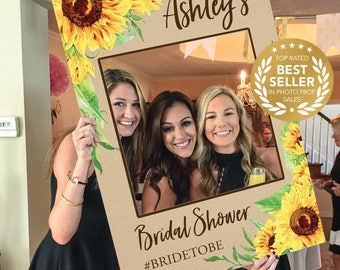 Bridal Shower Photo Prop - Sunflower - DIGITAL FILE - Photo Prop Frame - Baby Shower - Printed Option Available - Wedding Photo Booth Props