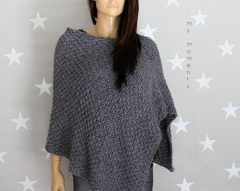 PONCHO Wool medium gray melange
