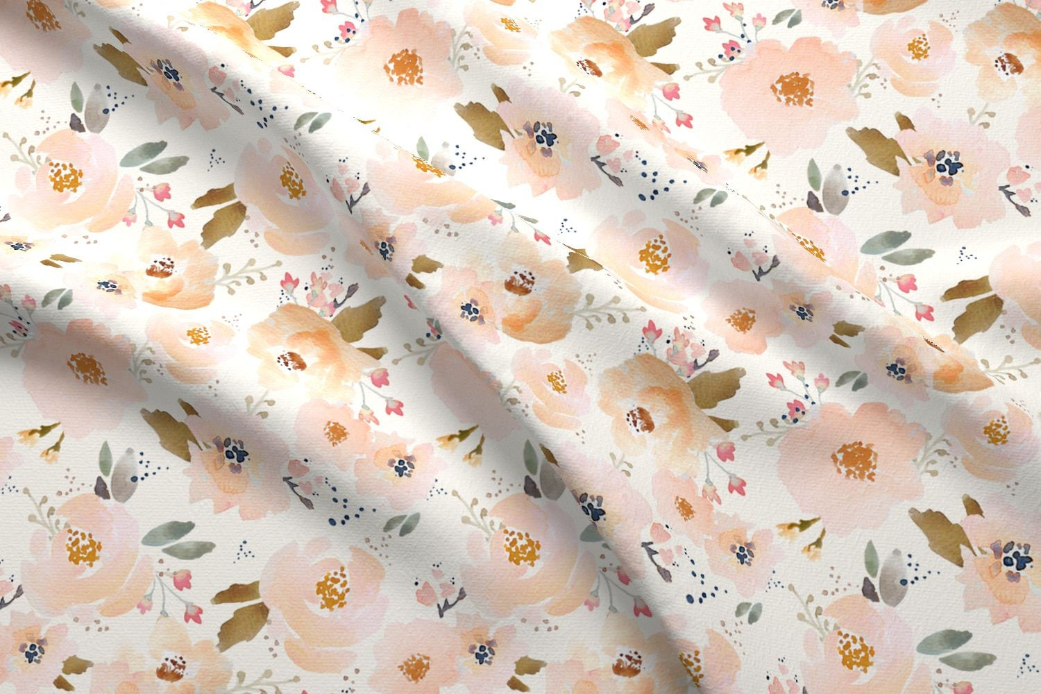 Peach floral fabric by the yard cotton quilting fabric for Floral nursery fabric