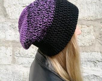 Purple slouchy beanie, cotton hat, vegan women's beanie, surf hat