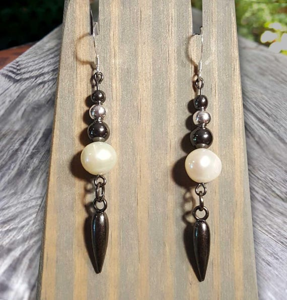 White Pearl Fight Night Earrings