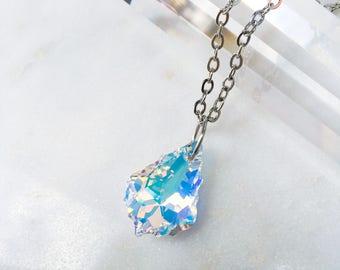 Baroque Aurora Borealis Swarovski Pendant Necklace, Hypoallergenic Stainless Steel Handmade Jewelry