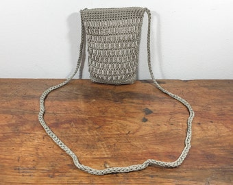 Tan Woven Purse, Cross Body, Shoulder Bag, with Ribbon Purse