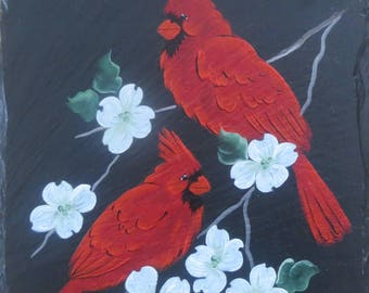 CARDINALS ON DOGWOOD Painted Slate, Personalized Free